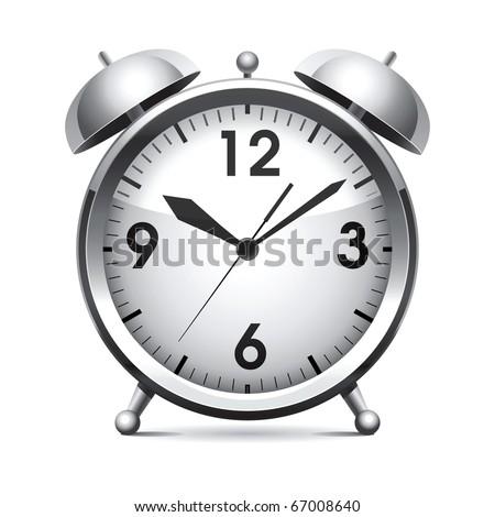Metal alarm clock.Vector. - stock vector