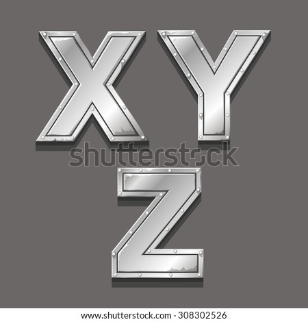 Metal alphabet letters and symbols  X Y Z - stock vector