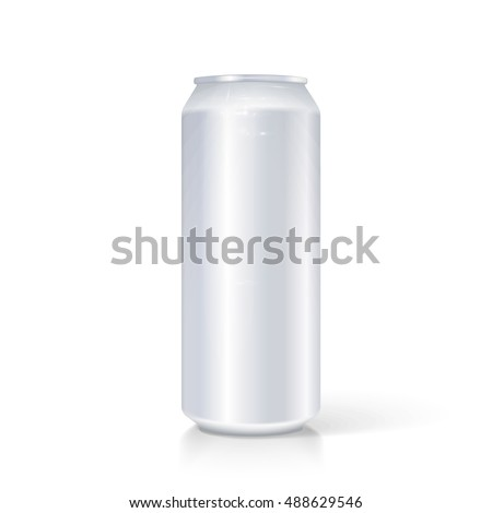 Metal Aluminum Beverage Drink Can 500ml. Mockup Template Ready For Your Design. Isolated On White Background. Product Packing.