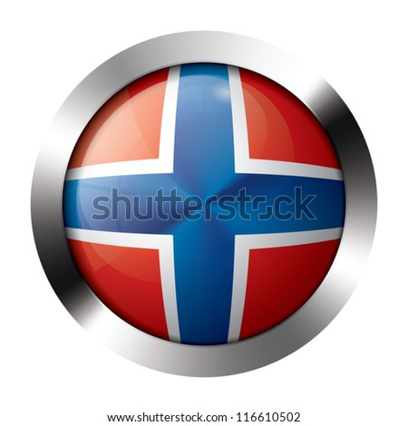 Metal and glass button - flag of Norway - Europe
