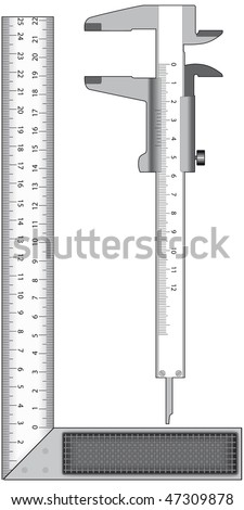 Metal angle and calliper on a white background - stock vector