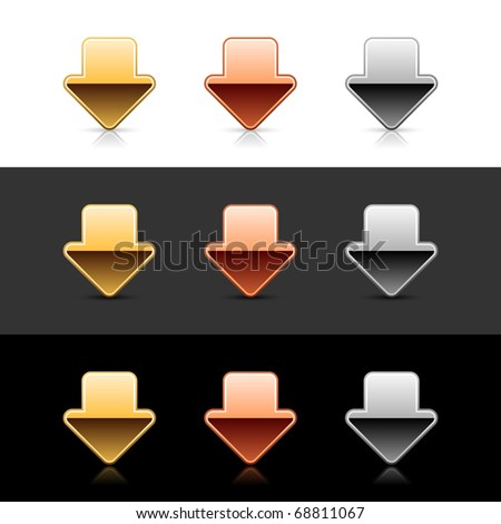 Metal arrow down icon web 2.0 buttons with shadow and reflection on white, gray and black - stock vector
