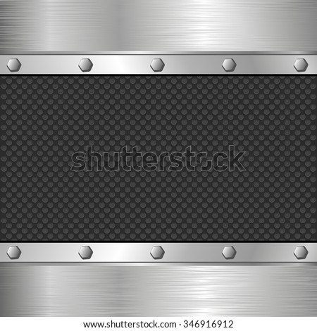 metal background with bolts - stock vector