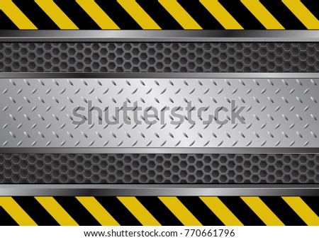 metal background with danger symbol