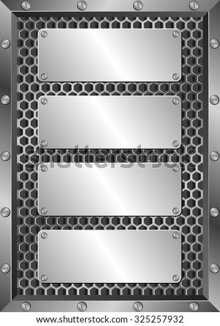 metal background with four plaques - stock vector