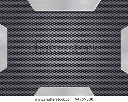 Metal Background with Opened Doors. Vector Template. EPS8