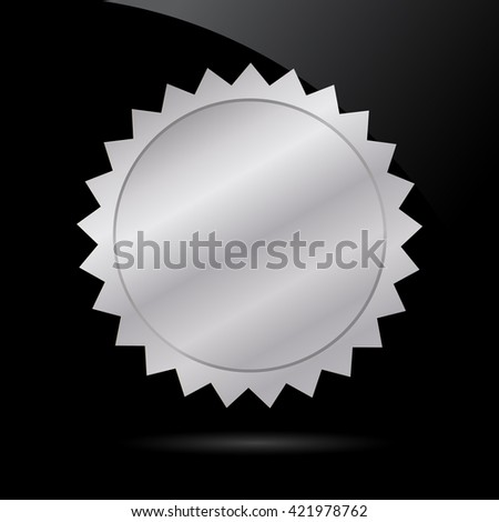 Metal badge on black background. Vector art.