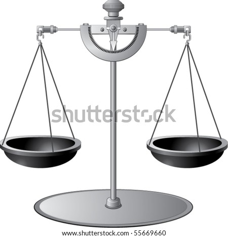 Metal balance scale isolated on white - stock vector