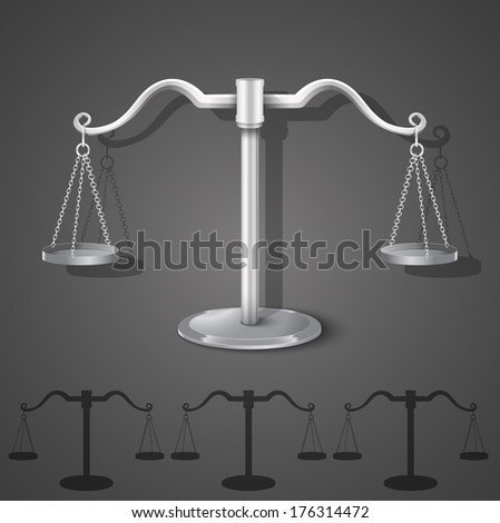 metal balance scales on dark background. vector illustration
