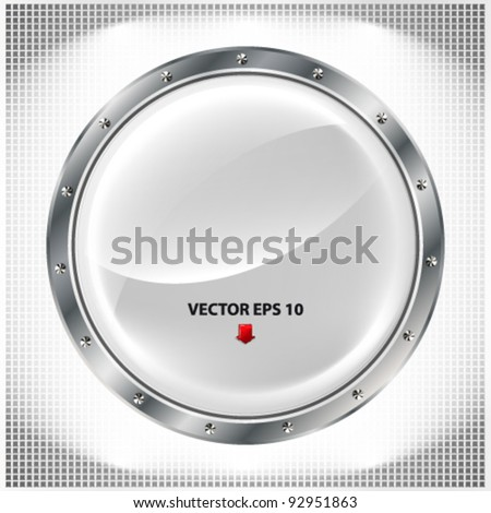 Metal banner with huge space for information. Fully editable. - stock vector