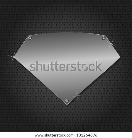 Metal board on black background, vector eps10 illustration - stock vector