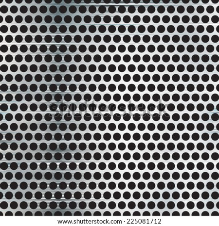 Metal Brushed Silver Background with Holes. Metal Grid with Some Reflection and Shine . Vector Illustration .  - stock vector