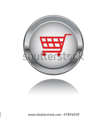 metal button with shopping symbol - stock vector