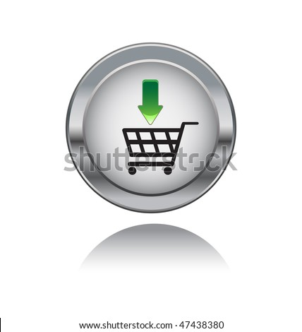 metal button with sopping symbol - stock vector
