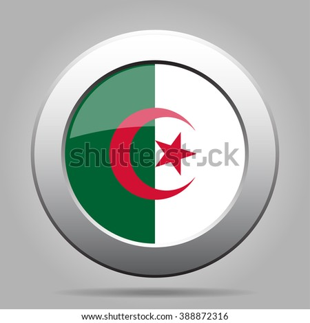 metal button with the national flag of Algeria on a gray background - stock vector