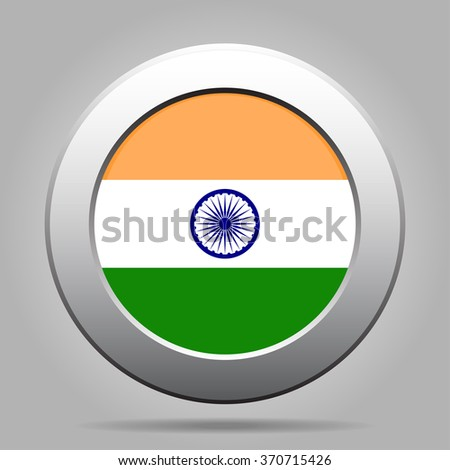 metal button with the national flag of India on a gray background