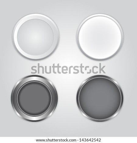 Metal buttons, vector, EPS 10