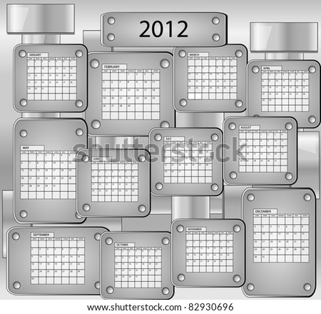Metal calender with all months of year 2012 - stock vector