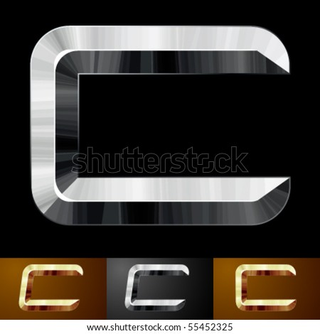 Metal chopped letters. Character c - stock vector