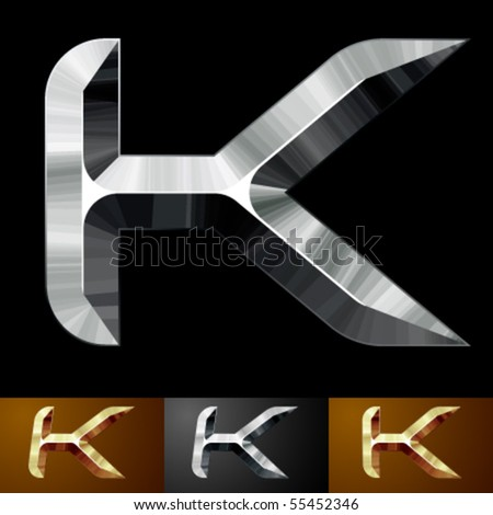 Metal chopped letters. Character k - stock vector