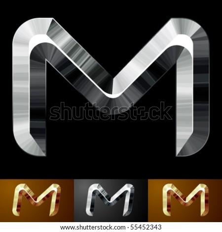 Metal chopped letters. Character m - stock vector