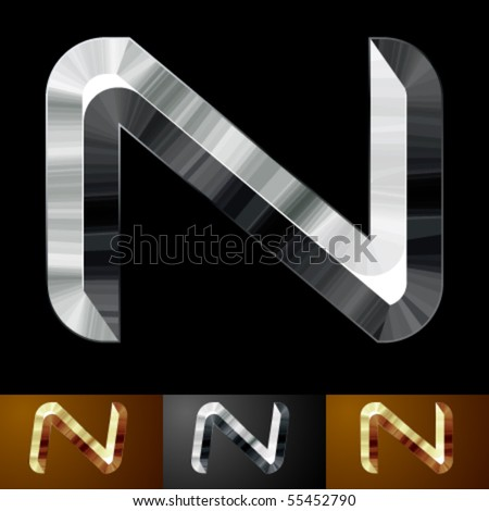 Metal chopped letters. Character n - stock vector