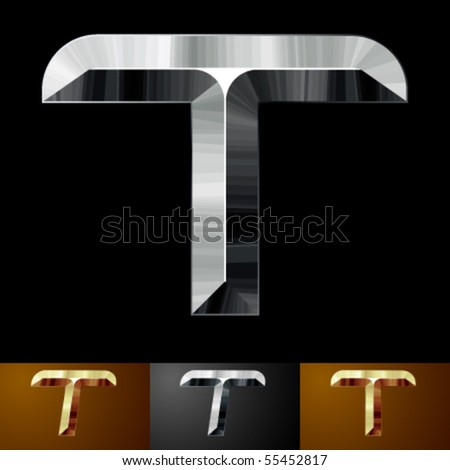 Metal chopped letters. Character t - stock vector