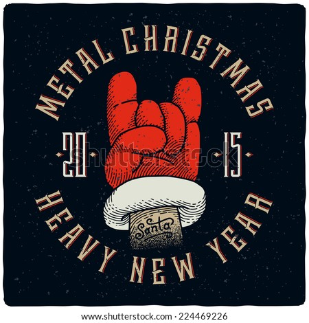 Metal christmas and heavy new year. T-shirt print with Santa claus hand rock horn gesture. - stock vector