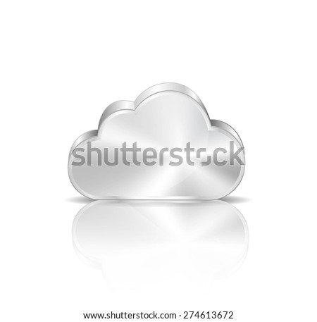 Metal cloud icon on white background - stock vector