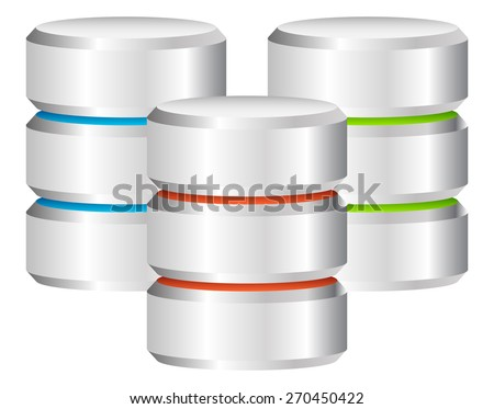 Metal cylinders. webhosting, server, mainframe computer concepts. Archive, Database, Hard Disk Drive / HDD Icon. vectors - stock vector