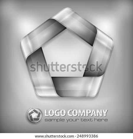 Metal design element, geometric symbol pentagon on grey, vector illustration - stock vector
