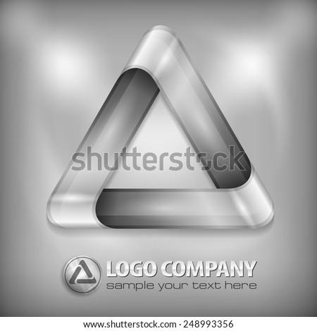 Metal design element, geometric symbol triangle on grey, vector illustration - stock vector