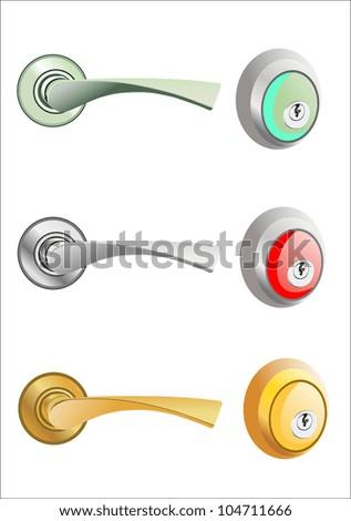Metal door handle and knob set - stock vector