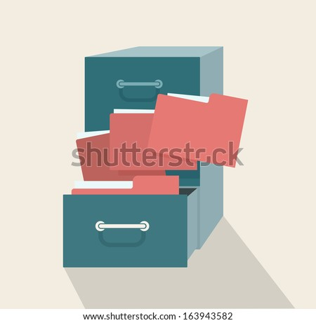 Metal filling cabinet with red folders. Illustrated concept of database organizing and maintaining.  - stock vector
