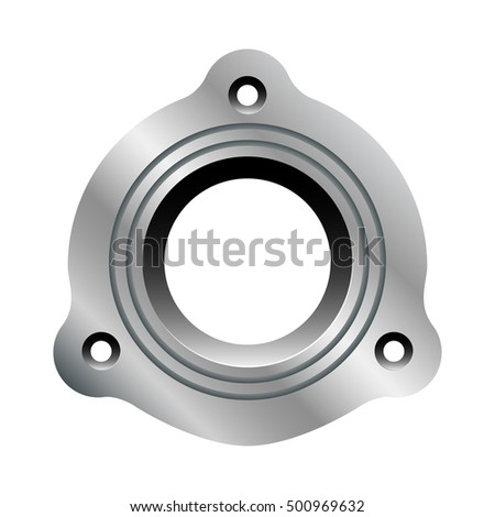 Metal flange with circular grooves. Vector illustration isolated on white background.