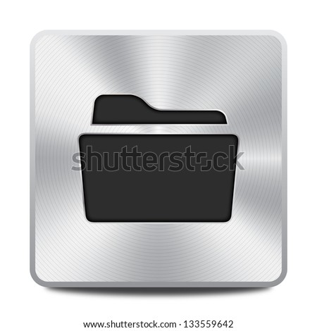 Metal folder icon / button, graphic design element - stock vector