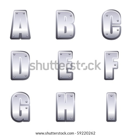 Metal font type A to I - stock vector