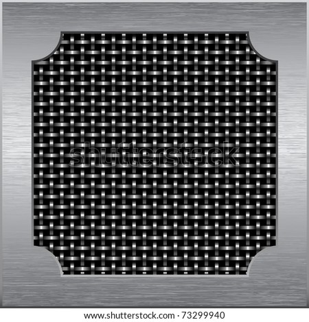 Metal frame around the metal mesh of the wire, vector - stock vector
