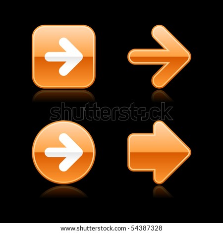 Metal glossy orange web 2.0 arrow button with reflection on black background - stock vector