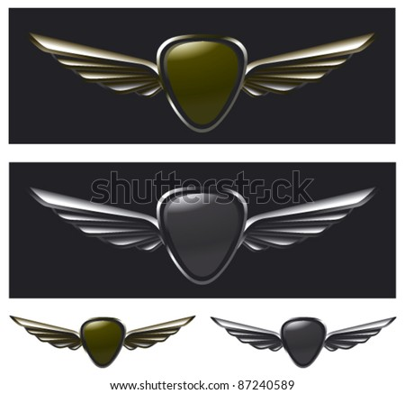 metal glossy shield with wings - stock vector