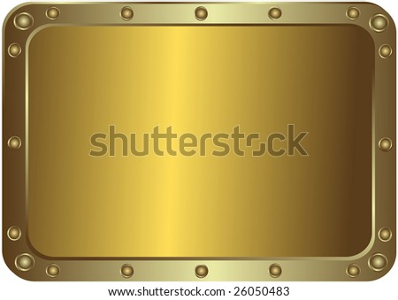 Metal golden platinum with the rounded corners with round metal rivets (vector)