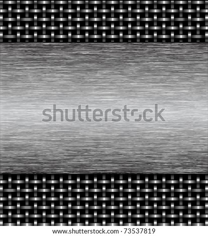 Metal grid of wires or pipes with a metal plate. Vector illustration - stock vector
