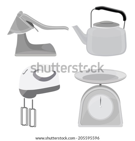 metal hand juicer,Hand Mixer,pot,scales,Kitchen tool collection - stock vector