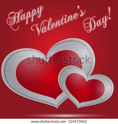 Metal hearts, Happy Valentine's Day - stock vector