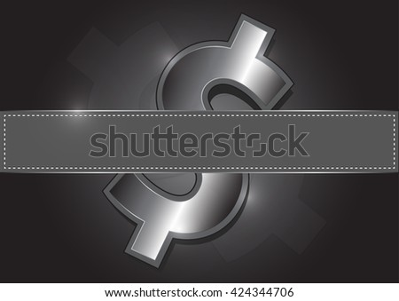 Metal icon dollar, Fills vacant posts - stock vector