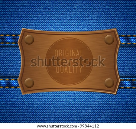 Metal label on the jeans - stock vector