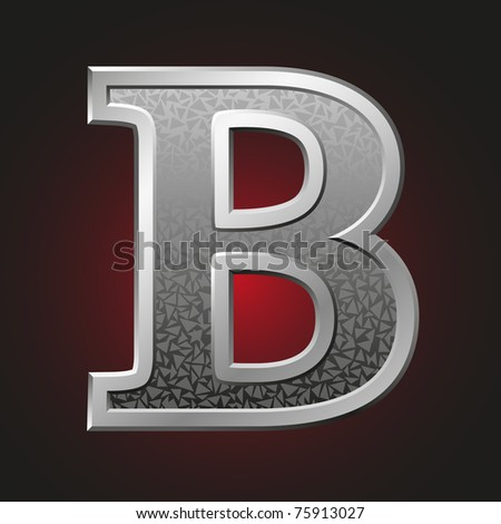 Metal letter B with a silvery fringing on a red background - stock vector