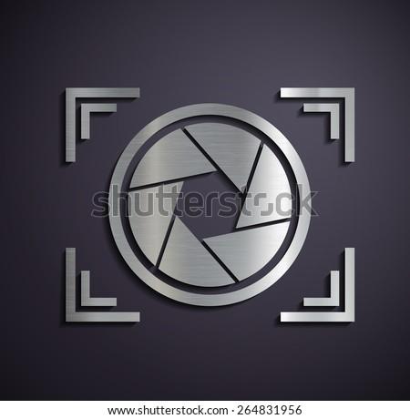 Metal logo camera. Vector image. - stock vector