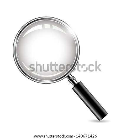 metal magnifying glass - stock vector