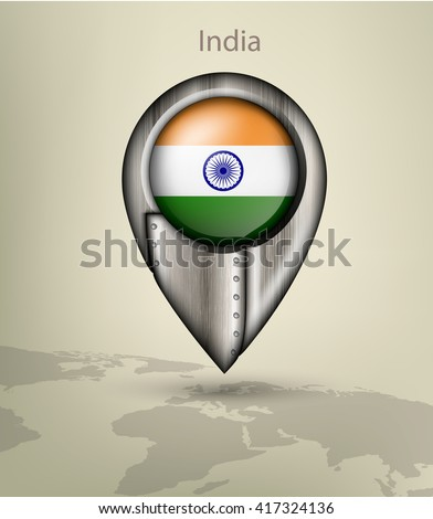 metal map marker steel with glare and shadows india - stock vector